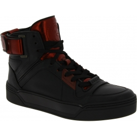 Gucci Women's high top laced-up sneakers shoes in black and red Leather