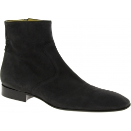 Jean-Baptiste Rautureau Men's round toe ankle boots in black nubuck leather