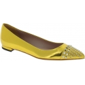 Gucci Women's pointed toe studded ballet flats in gold laminated calf leather