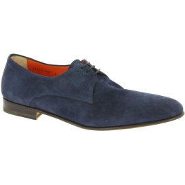 Santoni Men's fashion lace-up shoes in blue suede leather made in Italy
