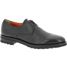 Santoni Men's fashion lace-up round toe flat shoes in black soft leather