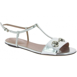 Gucci Women's fashion ankle strap flat sandals in silver laminated leather