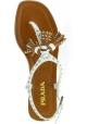 Prada Women's flat studded thong sandals with tassels in white tan leather