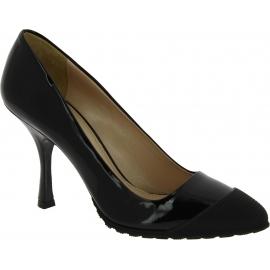 Miu Miu Women's fashion pointed toe spool heel pumps in black patent leather