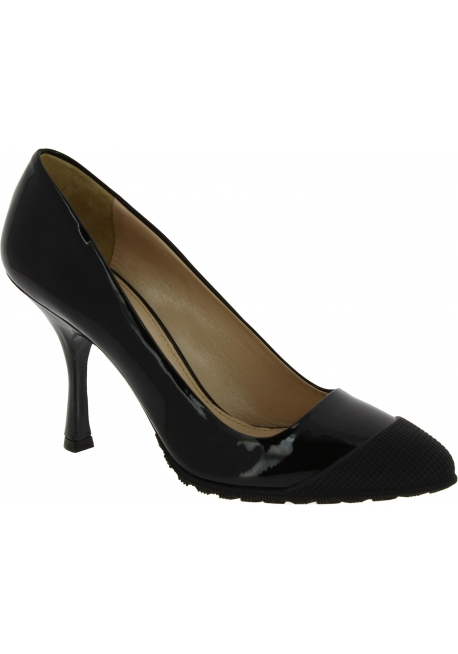 Miu Miu Women's fashion pointed toe spool heel pumps in black patent leather