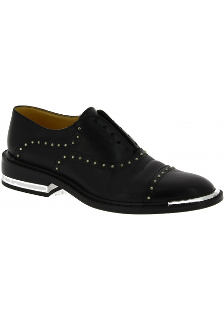 Barbara Bui Women's fashion laceless round toe studded shoes in black leather