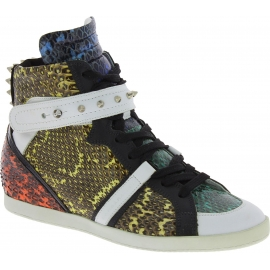Barbara Bui Women's high top studded sneakers in multicolor reptile leather
