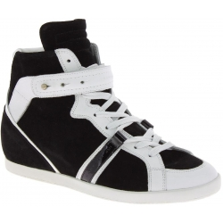 Barbara Bui Women's high top lace-ups sneakers in black white Suede leather