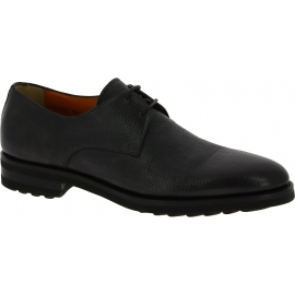 Santoni Men's fashion lace-up round toe flat shoes in anthracite calf leather
