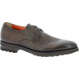 Santoni Men's fashion lace-up round toe flat shoes in brown calf leather