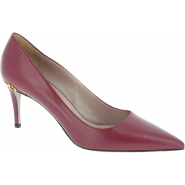 Gucci Women's stiletto pointed toe classic pumps in burgundy calf leather