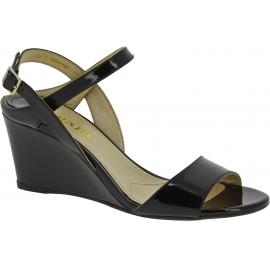 Prada Women's fashion shiny slingback wedge sandals in black patent leather