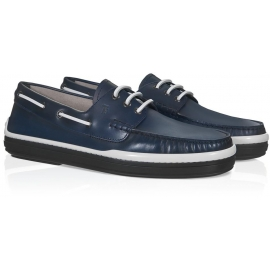 Tod's men's boat shoes in blue genuine Leather