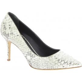Zanotti Women's classic stiletto pumps in platinum python leather