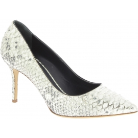 Zanotti Women's classic stiletto pumps in platinum python leather