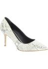 Giuseppe Zanotti Women's classic stiletto pumps in platinum python leather