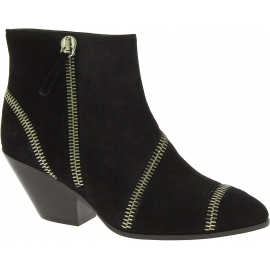 Zanotti Women's western heel ankle boots in black suede leather