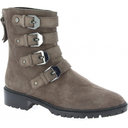 Stuart Weitzman Women's mid calf boots with buckles in gray suede leather