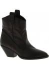 Zanotti Women's mid calf heeled boots in dark brown python leather