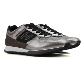 Hogan men's low top sneakers in silver Laminated calf leather