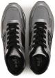 Hogan men's low top sneakers in silver Laminated calf leather