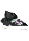 MSGM slippers sandals in black Leather and Fabric floral pattern
