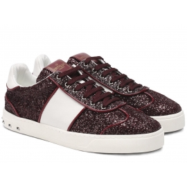 Valentino women's sneakers in burgundy Glitter