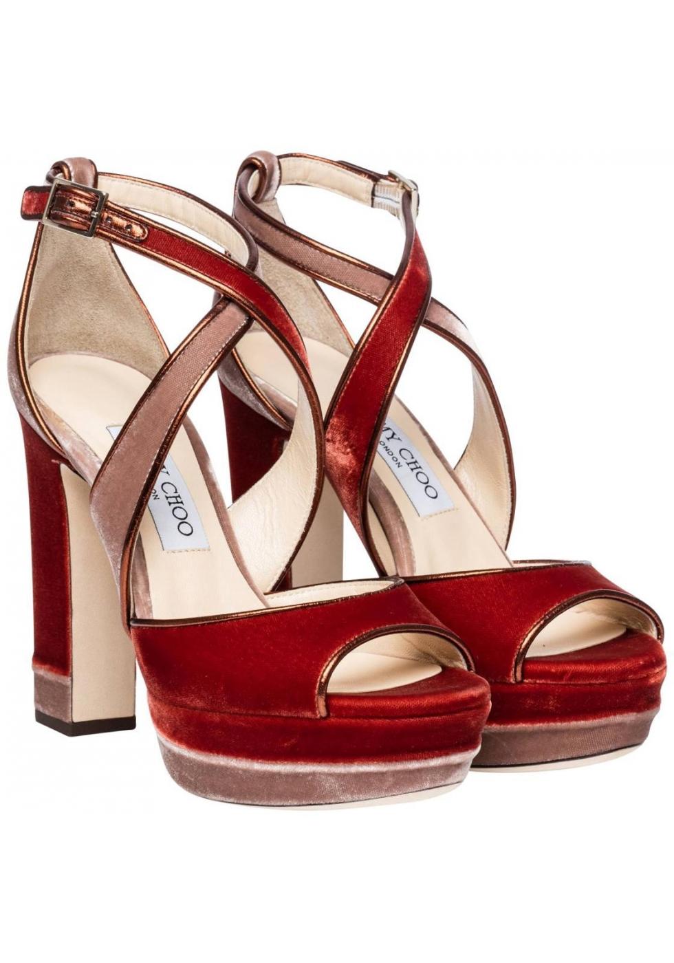 Jimmy Choo Heeled Sandals With Platform In Orange Velvet Italian Boutique