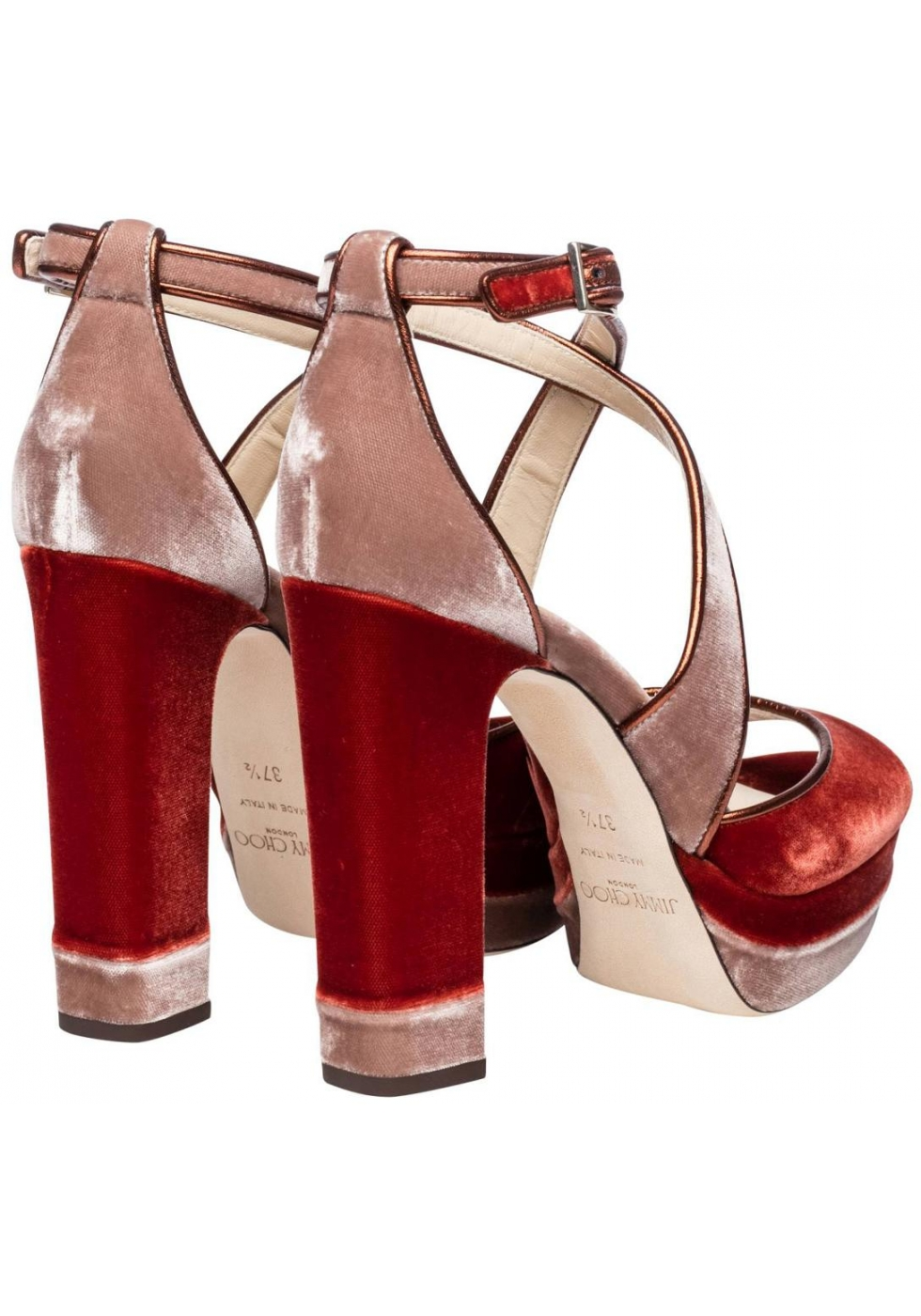 c7534674c10 Jimmy Choo heeled sandals with platform in orange Velvet - Italian ...