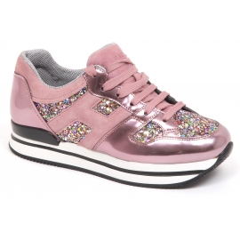 Hogan women's sneakers in pink metallic leather