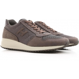 Hogan Interactive men's sneakers in taupe leather and fabric
