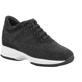 Hogan Interactive women's sneakers in black glitter suede