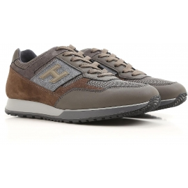 Hogan men's sneakers in brown/grey leather and fabric