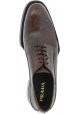Prada Women fashion brogues Oxford laced-up shoes in dark brown calf leather