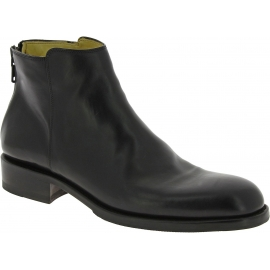 Jean-Baptiste Rautureau Men's ankle boots shoes in black leather & back zip