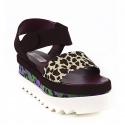 Stella McCartney Women's wedges sandals with cheetah strap in brown suede