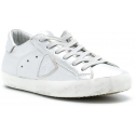 Philippe Model Women's lace-up low top sneakers shoes in silver leather