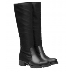 Prada knee high biker boots in black Leather and Fabric