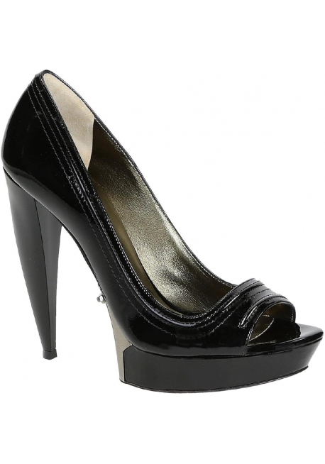 Lanvin peep toe shoes in black Patent Leather