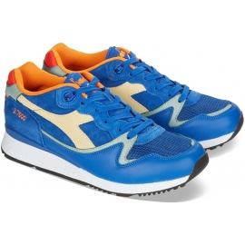 Diadora men's sneakers in azure leather and fabric