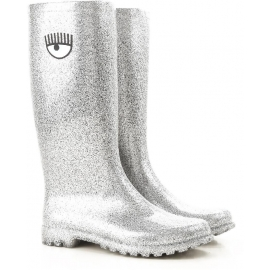 Chiara Ferragni women's knee high boots in silver Rubber