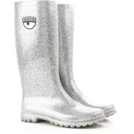 Chiara Ferragni women's knee high boots in silver Rubber