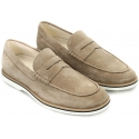 Hogan Club H262 penny loafers in beige suede leather