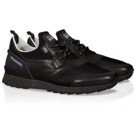 Hogan Running black leather and fabric sneakers