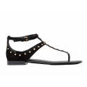 Balenciaga flats sandals Milli in black suede with metal studs