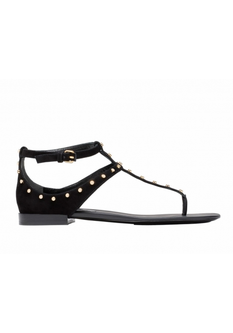 421a8b8b2d5 Balenciaga flats sandals Milli in black suede with metal studs - Italian  Boutique