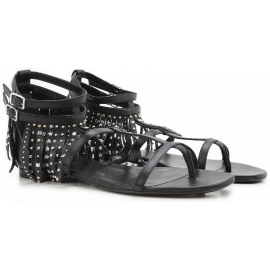 Saint Laurent flats sandals black leather fringe