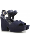 Céline wedges sandals in navy blue suede leather