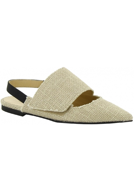 Erika Cavallini beige canvas flats slingbacks pumps