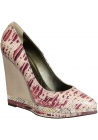 Lanvin wedges pumps in pink/white snakeskin leather